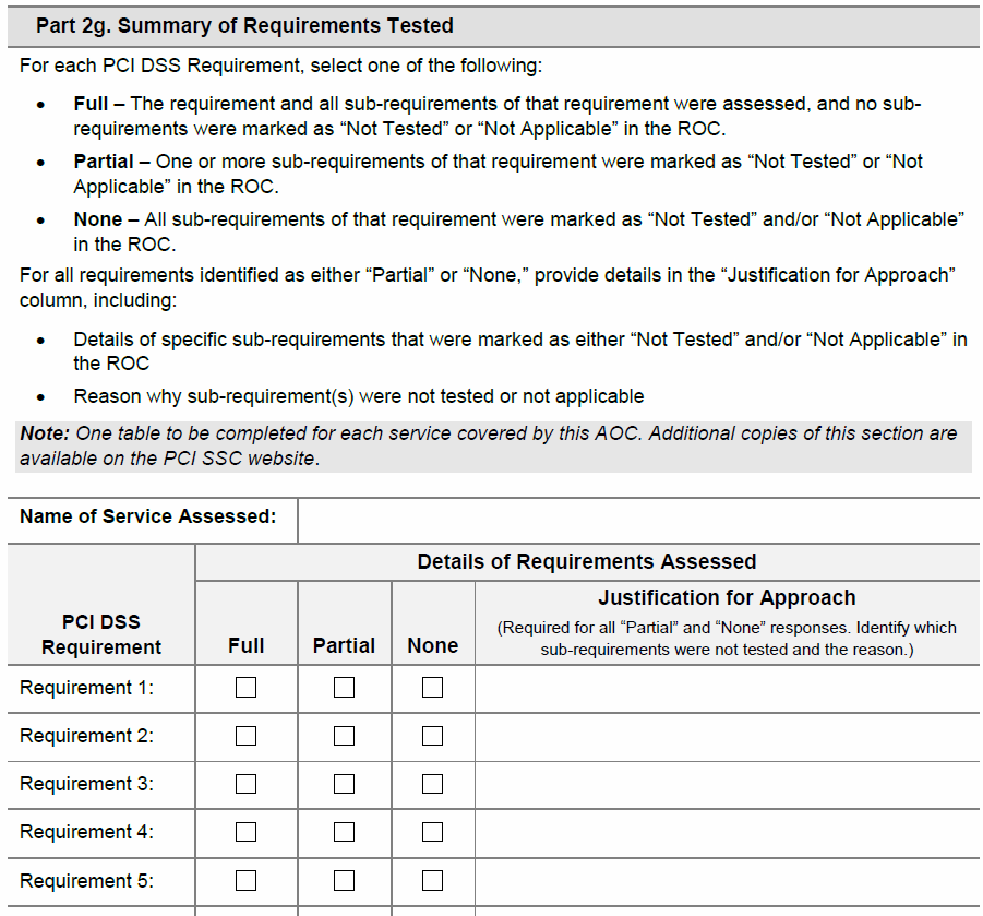 PCI AOC SP Section 2g